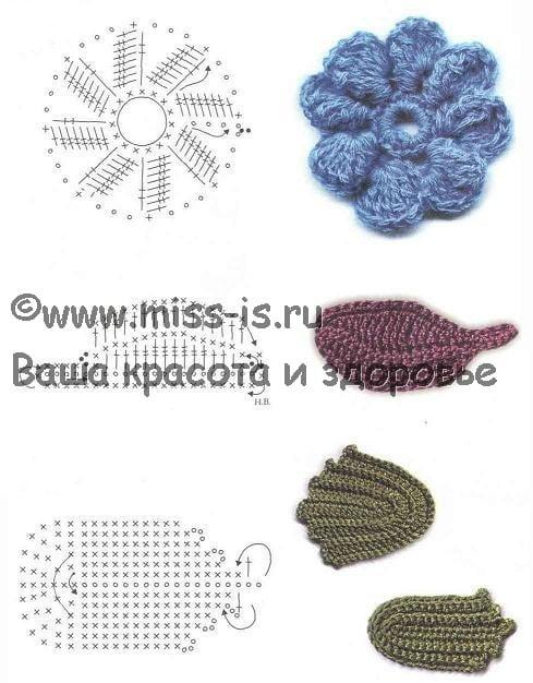 Рельефное плетение ирландского кружева «Цветы и листья»